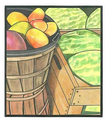 Mango Drawing - Market Display by Lesley Rutherford