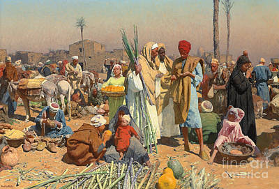 Donkey Painting - Market In Lower Egypt  by Leopold Karl Muller