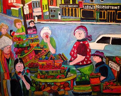 Painting - Market On The Main 1950's Montreal by Michael Litvack