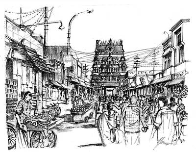 Vegetable Market Drawing - Market Place - Urban Life Outside Temple India by Aparna Raghunathan