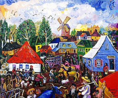 Roussimoff Wall Art - Painting - Market Place by Ari Roussimoff