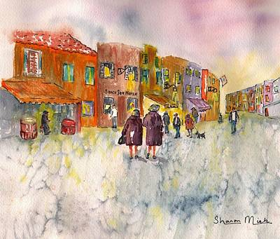 Art Print featuring the painting Market Place In Borano by Sharon Mick