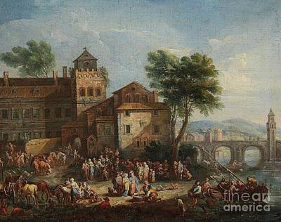 Market Scene Painting - Market Scene In A River Town by Celestial Images