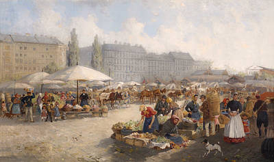 Good Dog Painting - Market Scene - Vienna by Mountain Dreams