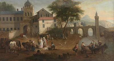 Fish In Art Painting -  Market Scene With A Gentleman by Joseph Roos
