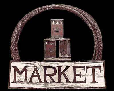 Mixed Media - Market Sign Against Black by Pamela Walton
