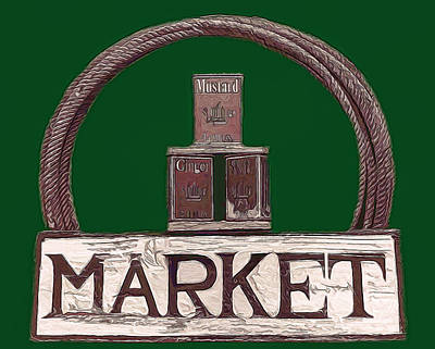 Mixed Media - Market Sign by Pamela Walton