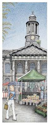 Faces Drawing - Market Square Clock  Lancaster  Lancashire by Sandra Moore