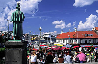 Photograph - Market Square Stavanger by Sally Weigand