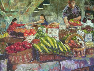 Market Stacker Art Print by Mary McInnis