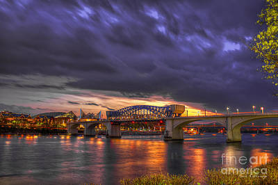 Photograph - John Ross Market Street Bridge Historic Chattanooga Tennessee  by Reid Callaway