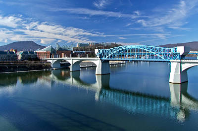 Riverfront Photograph - Market Street Bridge  by Tom and Pat Cory