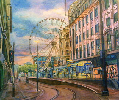 Market Street Metrolink Tramstop With The Manchester Wheel  Art Print