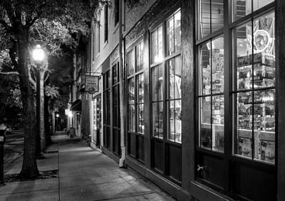 Photograph - Market Street Sidewalk In Black And White by Greg Mimbs