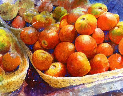 Basket Painting - Market Tomatoes by Andrew King