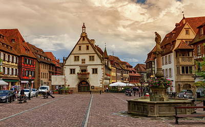 Photograph - Marketplace In Obernai Village, Alsace, France by Elenarts - Elena Duvernay photo