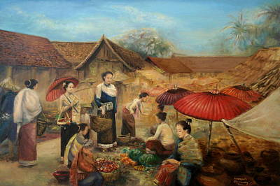 Laos Painting - Marketplace by Sompaseuth Chounlamany