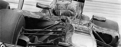 Formula One Drawing - Mark's Renault by Lyle Brown