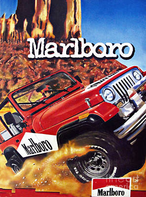 Jeep Drawing - Marlboro Wrangler Vintage Painting by Daliana Pacuraru