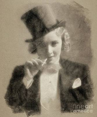 Musicians Drawings - Marlene Dietrich, Vintage Actress by John Springfield by Esoterica Art Agency