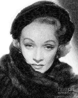 Musicians Drawings Rights Managed Images - Marlene Dietrich, Vintage Actress by JS Royalty-Free Image by Esoterica Art Agency