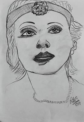Drawing - Marlene by Roger Cummiskey