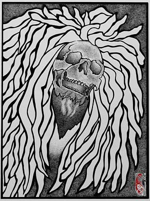 Sakura Drawing - Marley Inspired Skull by Leon Gorani