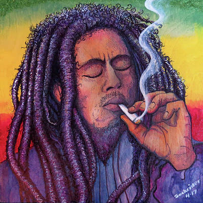 Art Print featuring the painting Marley Smoking by David Sockrider
