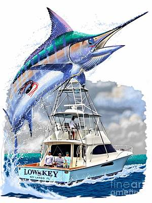 Sport Fishing Digital Art - Marlin Commission  by Carey Chen