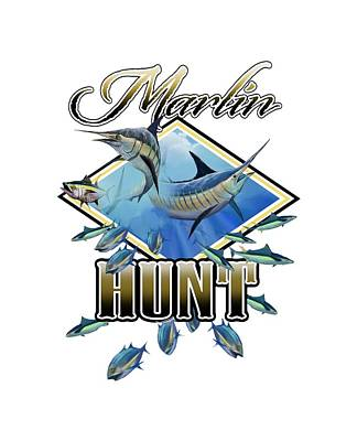 Digital Art - Marlin Hunt 2 by Peggy Novak