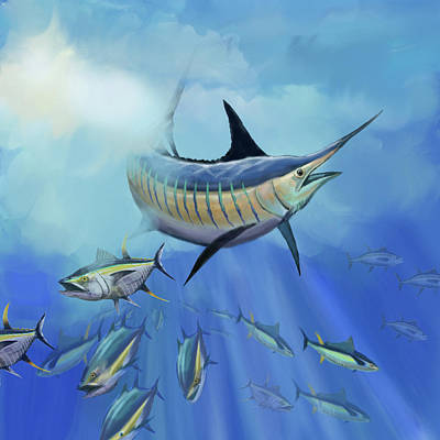 Digital Art - Marlin Hunt by Peggy Novak