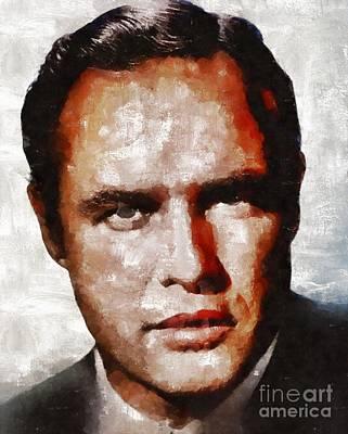 Elvis Presley Painting - Marlon Brando, Actor by Mary Bassett