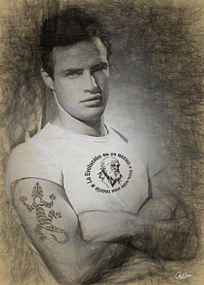 Portraiture Digital Art - Marlon Brando Drawn by Quim Abella