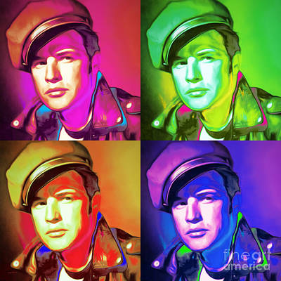 Marlon Brando The Wild One 20160116 Square Four Art Print by Wingsdomain Art and Photography