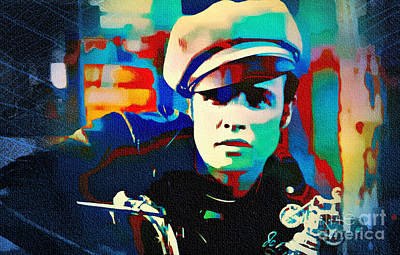 1950s Movies Painting - Marlon Brando - The Wild One by Ian Gledhill