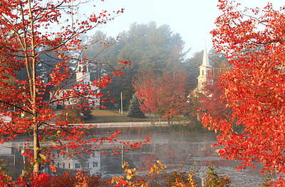 Marlow New Hampshire Early Autumn Fog Art Print