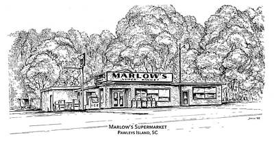 Island Drawing - Marlows Market by Greg Joens