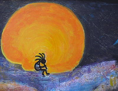Kokopelli Painting - Marmalade Orange And Yellow Moon And Kokopelli by Anne-Elizabeth Whiteway