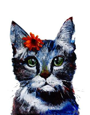 Painting - Marmalade, The Cat With A Flower On Its Head. by Larissa Pirogovski