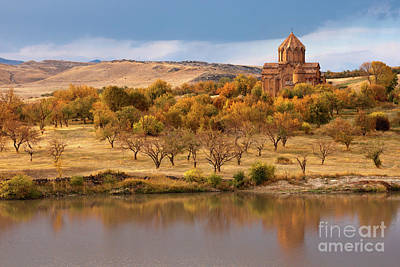 Photograph - Marmashen Monastery Reflected On Lake At Autumn, Armenia by Gurgen Bakhshetsyan