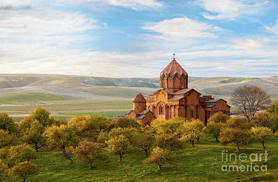Photograph - Marmashen Monastery Surrounded By Yellow Trees At Autumn, Armeni by Gurgen Bakhshetsyan