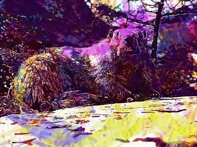 Groundhog Digital Art - Marmot Groundhog Rodent Mammal  by PixBreak Art