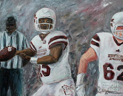 Painting - Maroon And White by Leslie Saucier