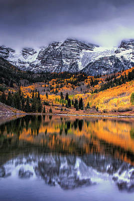 Maroon Photograph - Maroon Bells At Autumn by Andrew Soundarajan
