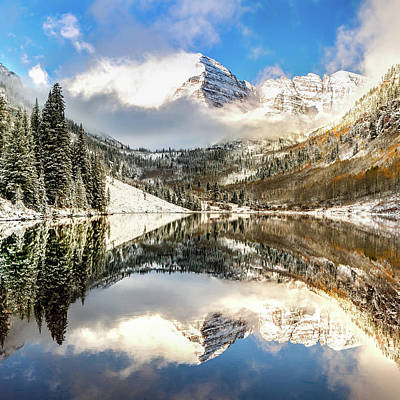Photograph - Maroon Bells At Sunrise - Aspen Colorado 1x1 by Gregory Ballos