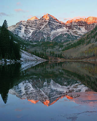 Maroon Bells At Sunrise Art Print by Harold Rau