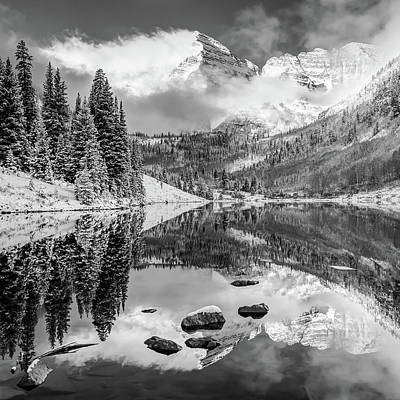 Photograph - Maroon Bells Autumn Mountain Reflective Landscape - Black And White 1x1 Square Format by Gregory Ballos