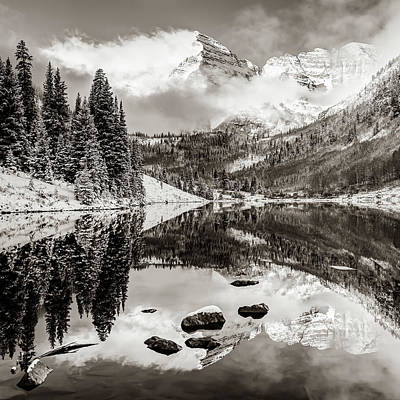 Photograph - Maroon Bells Autumn Mountain Reflective Landscape - Sepia 1x1 Square Format by Gregory Ballos