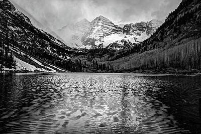 Photograph - Maroon Bells Black And White - Elk Mountain Colorado Landscape by Gregory Ballos