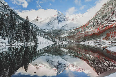 Landscapes Royalty-Free and Rights-Managed Images - Maroon Bells Burnt Mountain Landscape - Aspen Colorado by Gregory Ballos